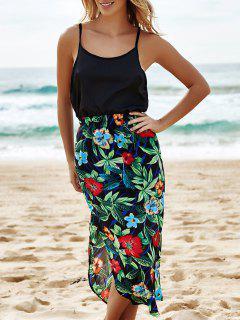Floral Print Taille Haute Mi-mollet En Mousseline De Soie Jupe - L