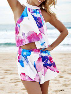 Floral Sleeveless Crop Top And Wide Leg Shorts Suit - L
