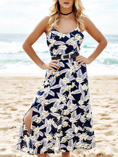 Full Floral Spaghetti Straps Maxi Dress - Purplish Blue