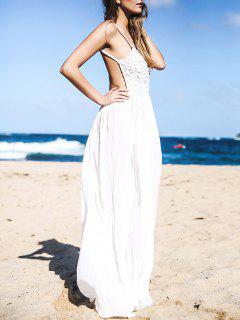 Lace Bodice Open Back Maxi Dress - White Xl