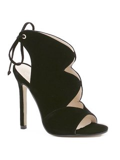 Cut Out Flock Stiletto Heel Sandals - Black 39