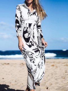 Imprimé Manches Longues En Mousseline De Soie Maxi Dress - Blanc Cassé Xl