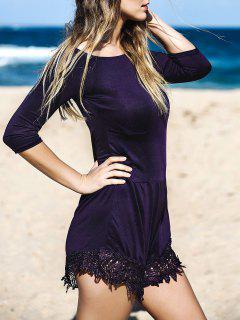 Superbe Slash Neck Solid Color Lace Spliced ​​Romper - Pourpre M