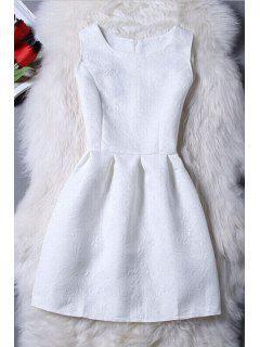 Sleeveless Jacquard Mini Dress - White Xl