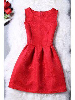 Sleeveless Jacquard Mini Dress - Red Xl