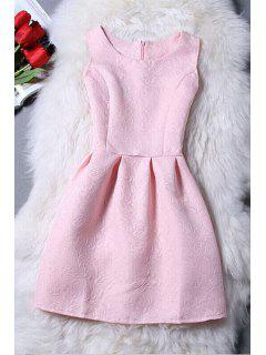 Sleeveless Jacquard Mini Dress - Pink Xl