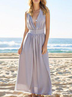 Plunging Neck Solid Color Maxi Dress - Blue Gray S
