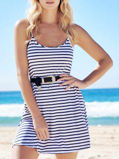 Spaghetti Strap A-Line Striped Dress - Blue And White S