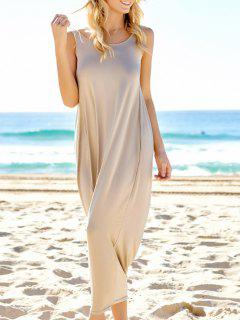 Brief Style De Solid Color Backless Maxi Sundress - Kaki Clair S