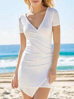 Solid Color Plunging Neck Bodycon Dress - White S