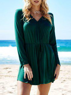 Green V-Neck Long Sleeve Dress - Green S