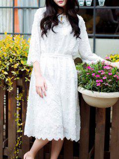 Robe En Dentelle Blanche Brodée - Blanc S