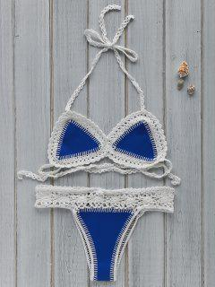 Hollow Out Spaghetti Strap Crocheted Bikini Set - Blue