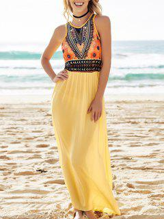 Color Block Print Sleeveless Maxi Dress - Yellow M