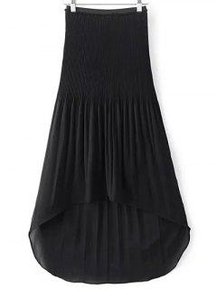 Hi-Lo Pleated Chiffon Skirt - Black L