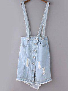 Ripped Denim Suspender Skirt - Light Blue S