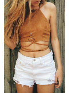 Lace Up Pure Color Cami Crop Top - Brown M