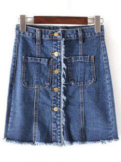 Jupe Frangée En Denim à Taille Haute à Une Rangée De Boutons - Bleu Cadette L