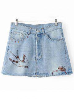 Swallow Embroidery Denim Skirt - Light Blue S