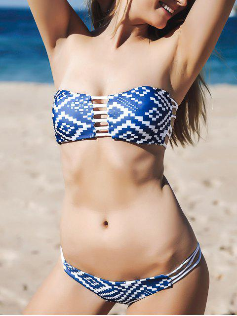 shop Strapless Blue and White Bikini Set - BLUE M Mobile