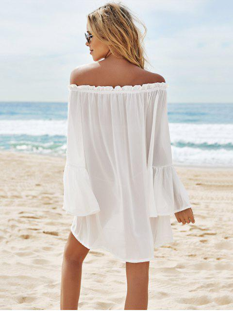 outfits Slash Neck See-Through Solid Color Cover-Up - WHITE ONE SIZE(FIT SIZE XS TO M) Mobile