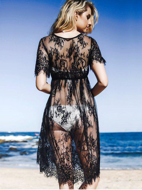 Robe  transparente en dentelle à col rond et à manches courtes - Noir L Mobile