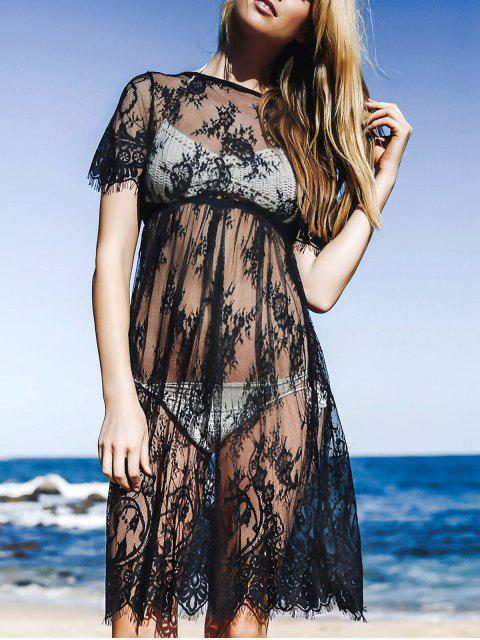 ladies See-Through Round Neck Short Sleeve Lace Dress - BLACK M Mobile