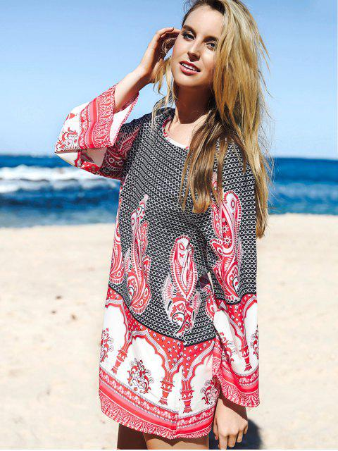 unique Flare Sleeve Printed Tunic Dress - COLORMIX S Mobile