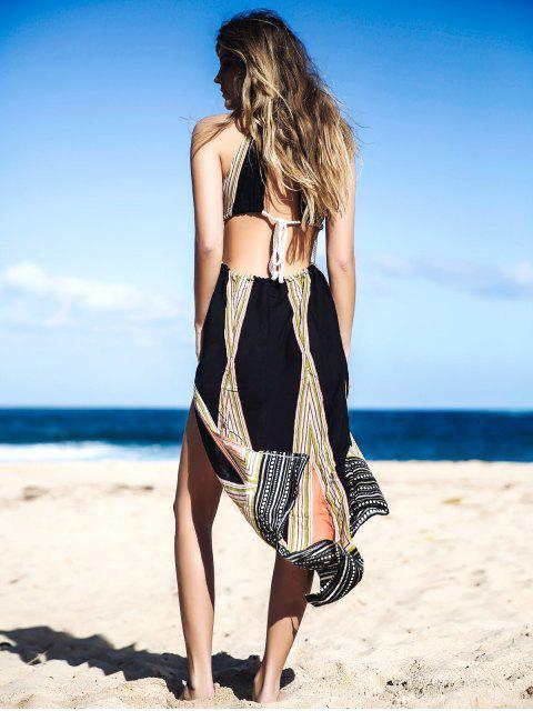 lady High Slit Halter Printed Maxi Dress - COLORMIX S Mobile