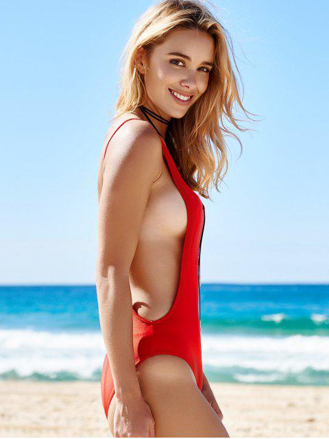 unique Monokini High Cut Backless One-Piece Swimwear - RED S Mobile
