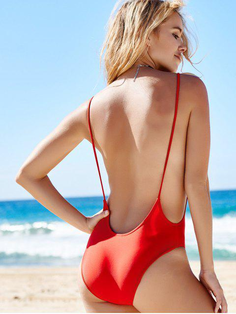 lady Monokini High Cut Backless One-Piece Swimwear - RED M Mobile
