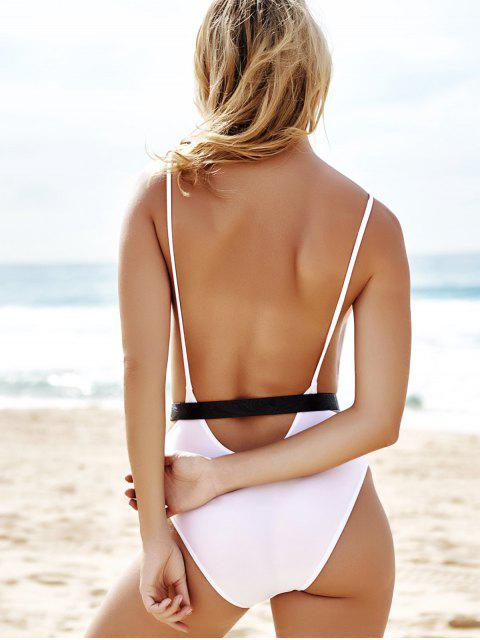 fashion Monokini High Cut Backless One-Piece Swimwear - WHITE M Mobile