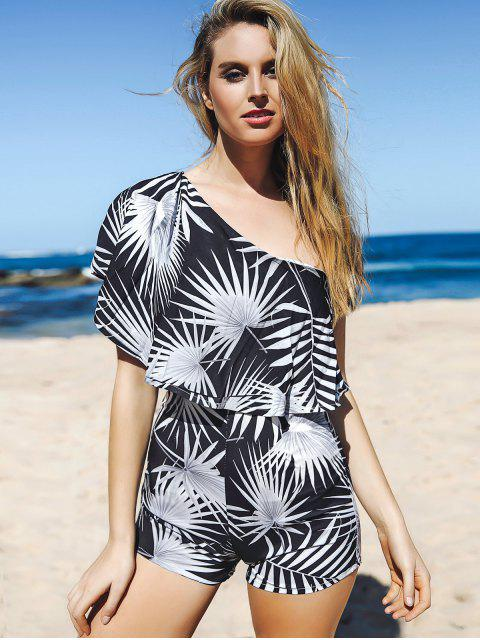 fashion Printed One Shoulder Romper - WHITE AND BLACK M Mobile