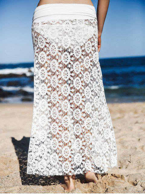 Solid Color Lace Cover Up Jupe - Blanc L Mobile