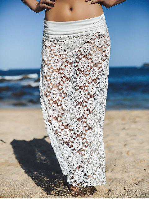 shop Solid Color Lace Cover Up Skirt - WHITE L Mobile