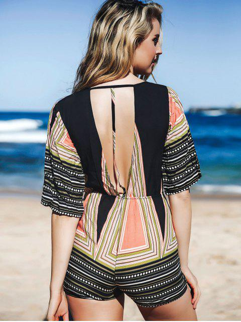 ladies Printed Plunging Neck 3/4 Sleeve Romper - COLORMIX M Mobile
