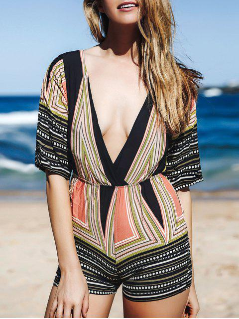 women's Printed Plunging Neck 3/4 Sleeve Romper - COLORMIX S Mobile