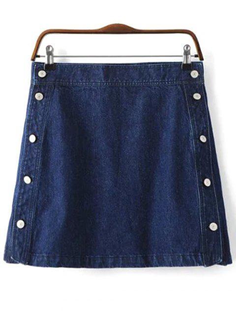Bouton Design Mini Jupe en denim - Bleu profond S Mobile