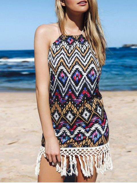 sale Backless Fringe Geometric Print Halter Sleeeveless Dress - PURPLE L Mobile