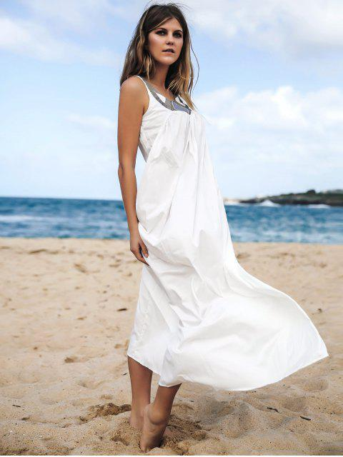 hot Jewel Neck Smock Summer Maxi Dress - WHITE M Mobile