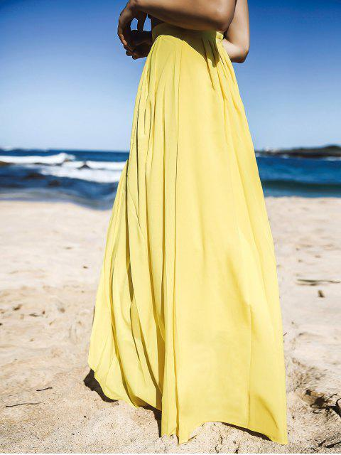 sale Yellow High Waisted Maxi Skirt - YELLOW S Mobile
