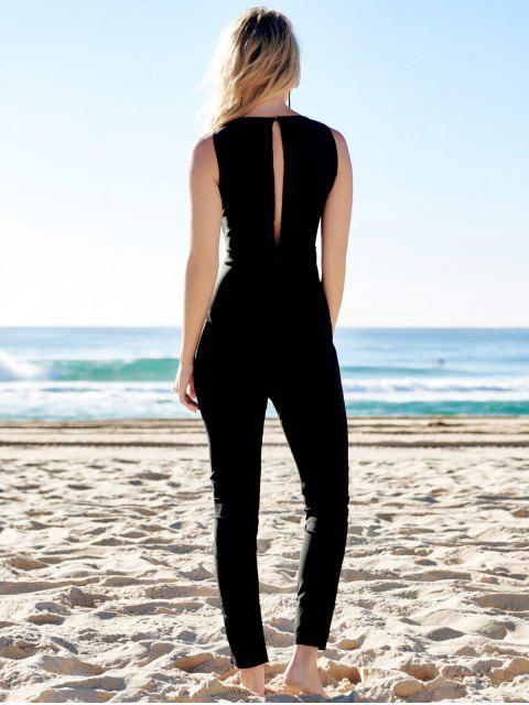 lady Jewel Neck Black Backless Sleeveless Jumpsuit - BLACK S Mobile