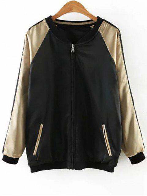 sale Embroidered Reversible Satin Bomber Jacket - BLACK AND GOLDEN S Mobile
