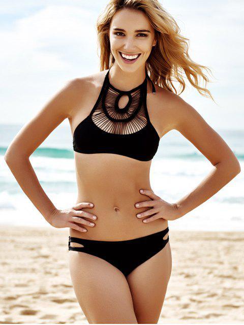 trendy Pure Color Hollow Out Bikini Set - BLACK S Mobile