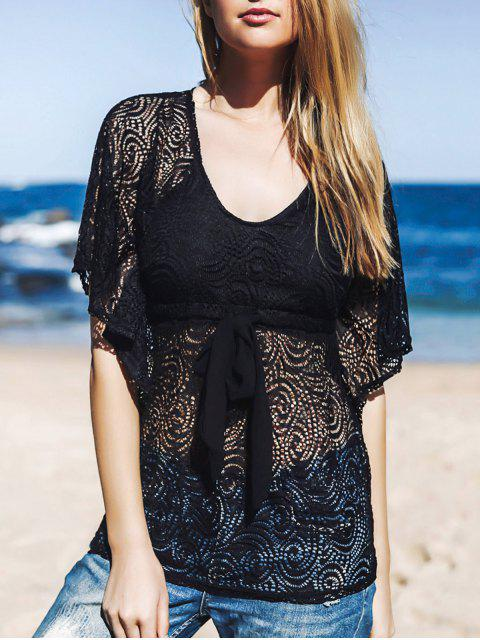 buy Lace Sheer Front Tie Cover Up - BLACK ONE SIZE(FIT SIZE XS TO M) Mobile