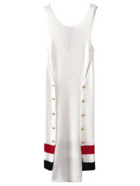 Design Bouton Robe pull irrégulière - Blanc S Mobile