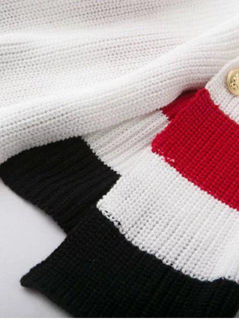 trendy Button Design Irregular Sweater Dress - WHITE M Mobile