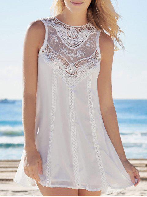 women Spliced Hollow Out White Chiffon Dress - WHITE M Mobile