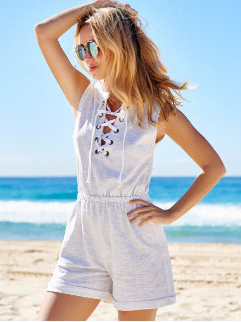 fashion Sleeveless Lace-Up Playsuit - LIGHT GRAY L Mobile
