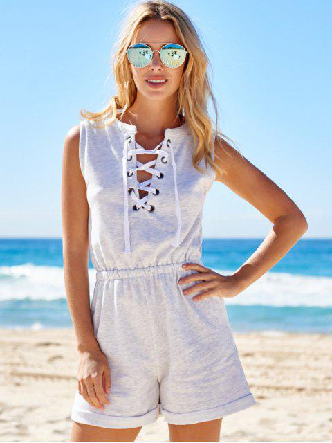 latest Sleeveless Lace-Up Playsuit - LIGHT GRAY S Mobile